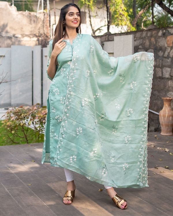 Light teal blue floral embroidered kota kurta with dupatta - Set Of Two 3