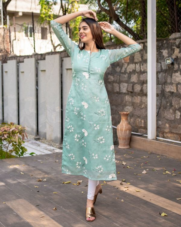 Light teal blue floral embroidered kota kurta with dupatta - Set Of Two 2
