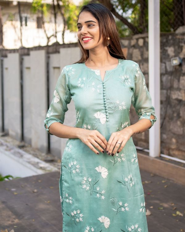 Light teal blue floral embroidered kota kurta with dupatta - Set Of Two 1
