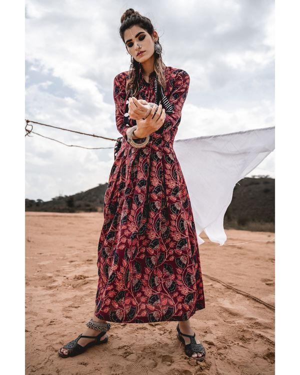 Maroon block printed dress 2