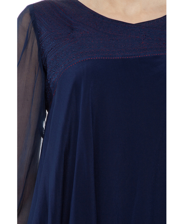 Silk crepe blue printed tunic 1