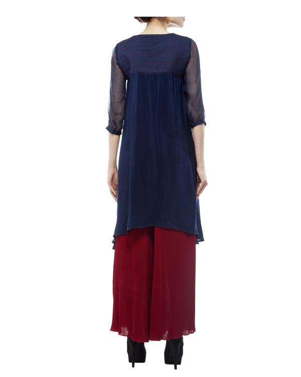 Silk crepe blue printed tunic 2