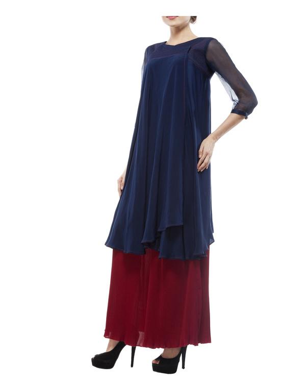Silk crepe blue printed tunic 3
