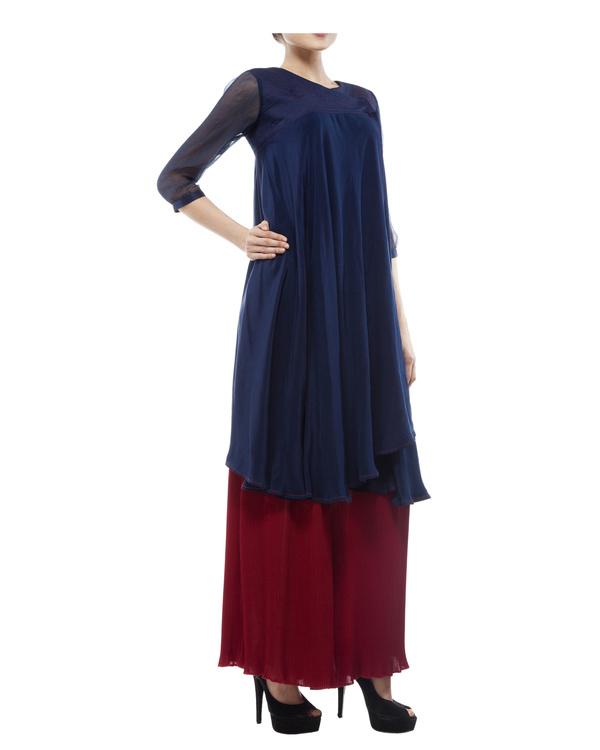 Silk crepe blue printed tunic 4