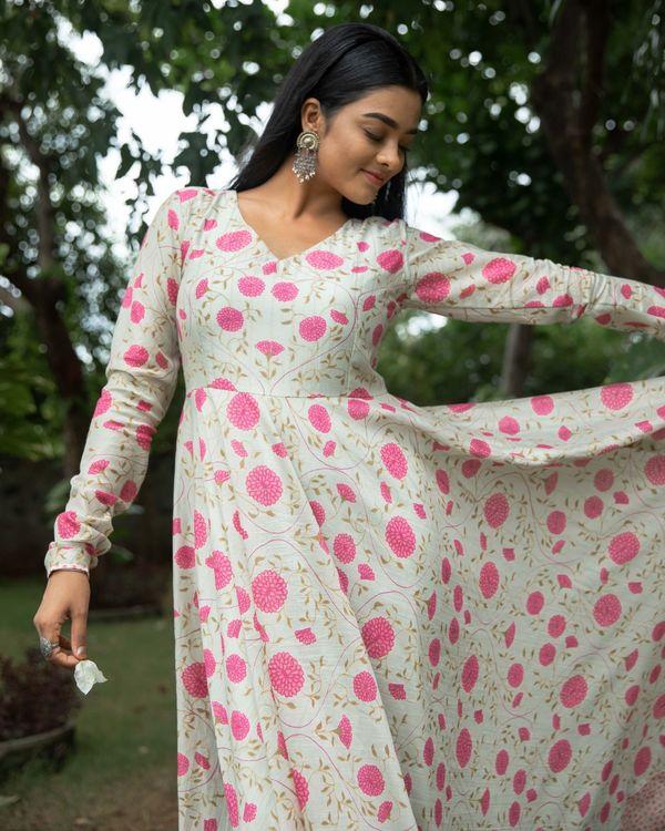 Light beige and pink floral printed chanderi dress 2