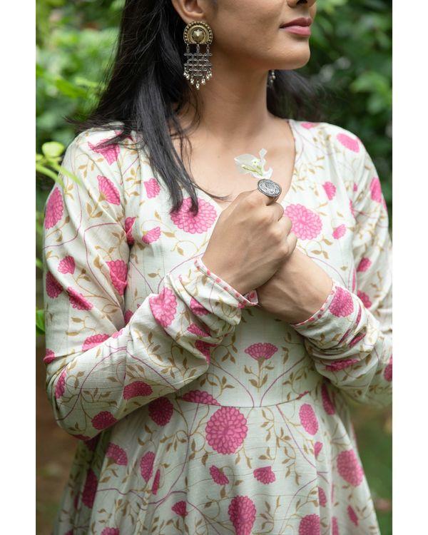 Light beige and pink floral printed chanderi dress 1