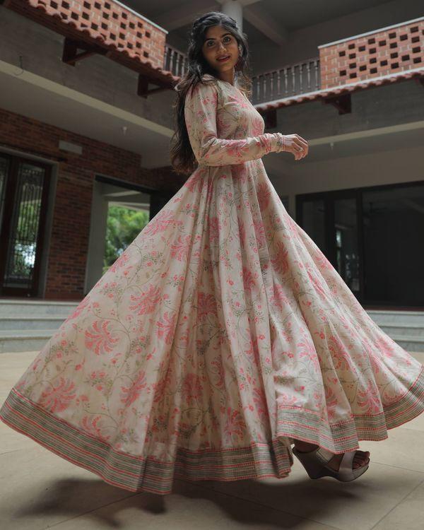 Beige and pink floral jaal printed chanderi dress 3