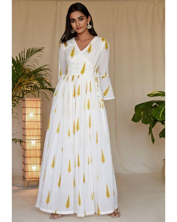 Yellow leaf printed angrakha dress 2
