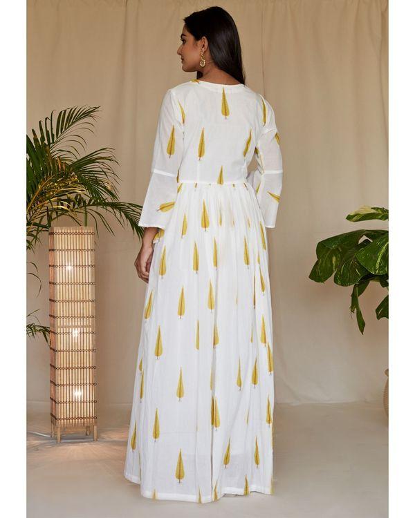 Yellow leaf printed angrakha dress and net dupatta - Set Of Two 3