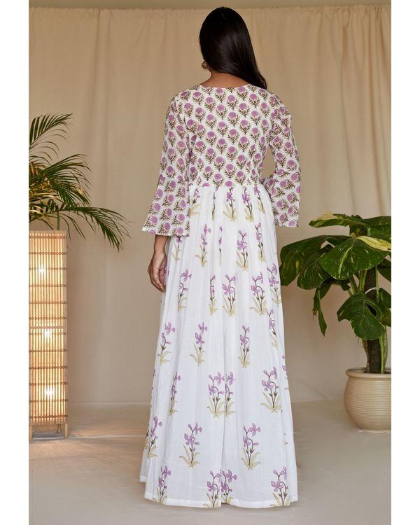 Lilac lily block printed angrakha dress 2