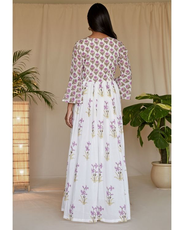 Lilac lily block printed angrakha dress with dupatta - Set Of Two 3