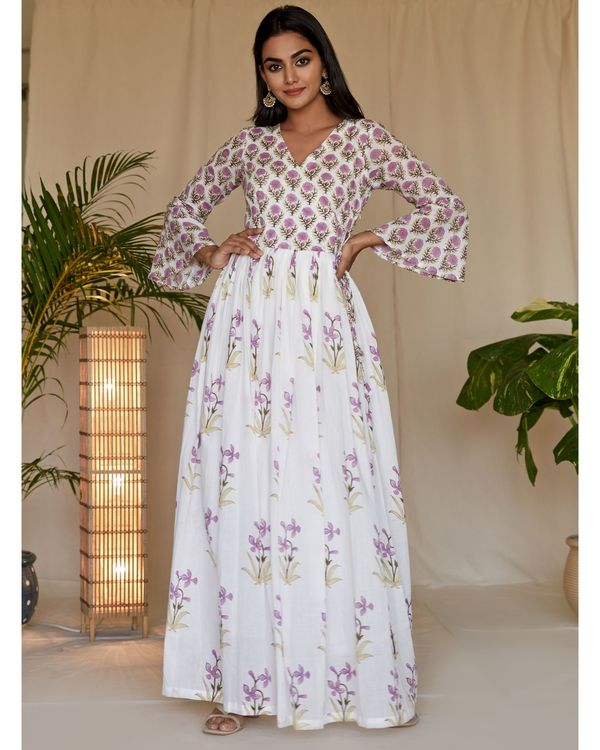 Lilac lily block printed angrakha dress with dupatta - Set Of Two 2