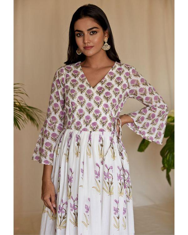 Lilac lily block printed angrakha dress with dupatta - Set Of Two 1