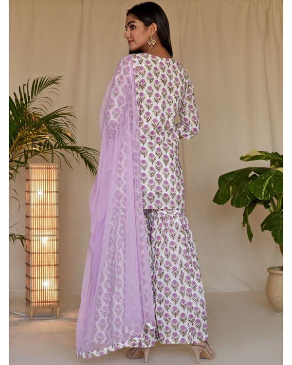 Lilac floral block printed kurta and sharara with dupatta - Set Of Three 3
