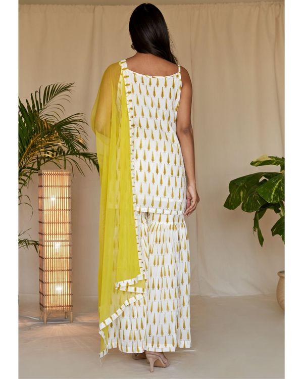 Yellow leaf block printed strap kurta and sharara with dupatta - Set Of Three 3
