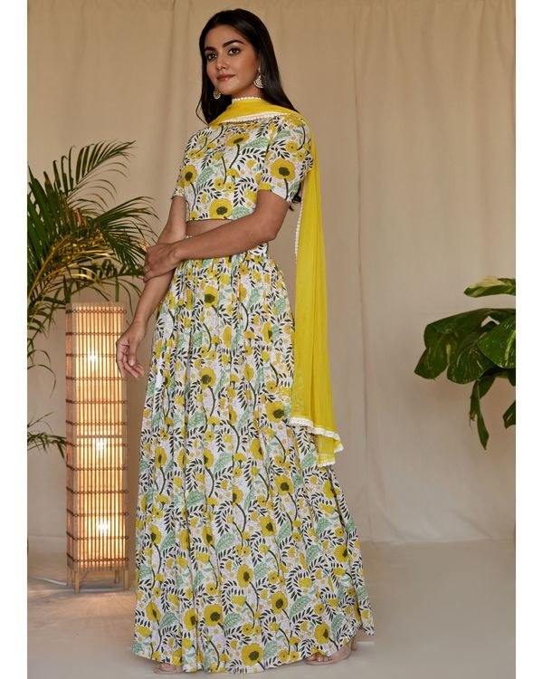Yellow floral printed crop top and lehenga with dupatta - Set Of Three 1