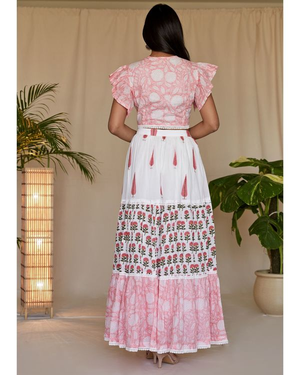 Peach pink floral printed flutter crop top and tiered lehenga with dupatta - Set Of Three 3