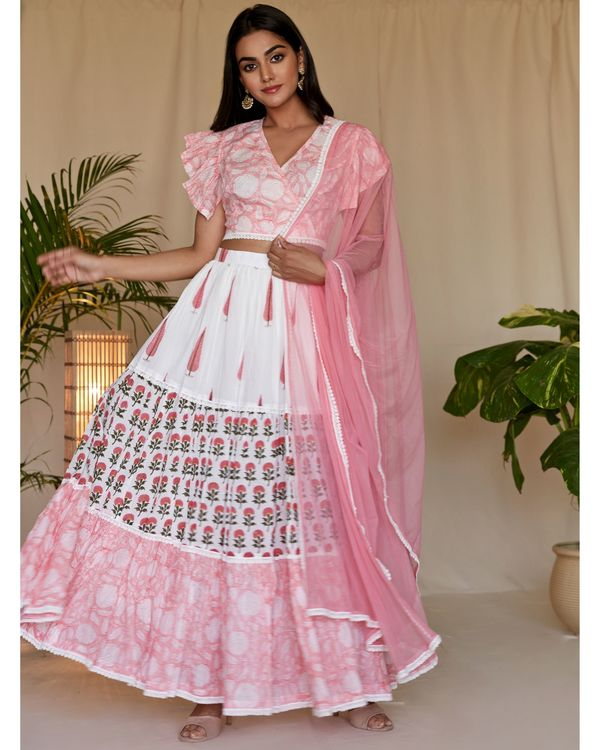 Peach pink floral printed flutter crop top and tiered lehenga with dupatta - Set Of Three 2
