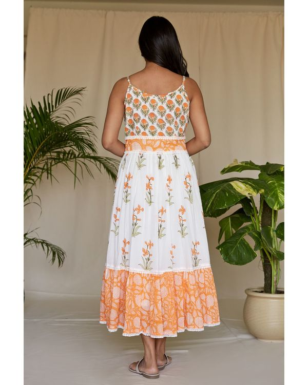 Tangerine floral printed tiered maxi dress 3