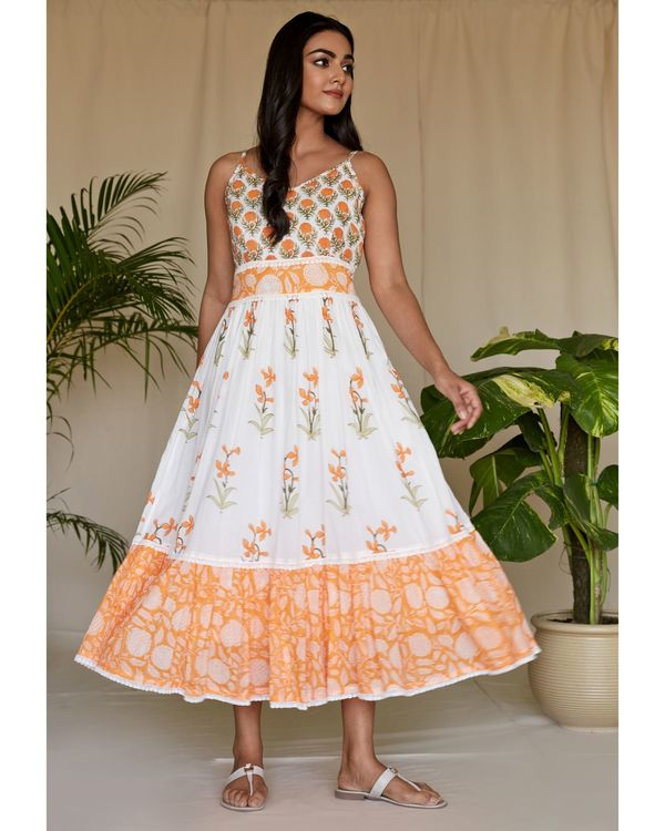 Tangerine floral printed tiered maxi dress 2