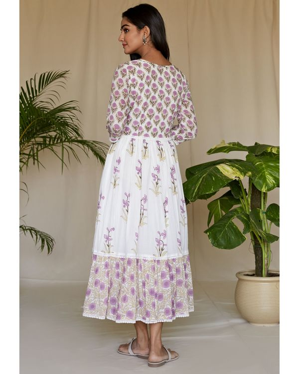 Lilac floral printed tiered maxi dress 3
