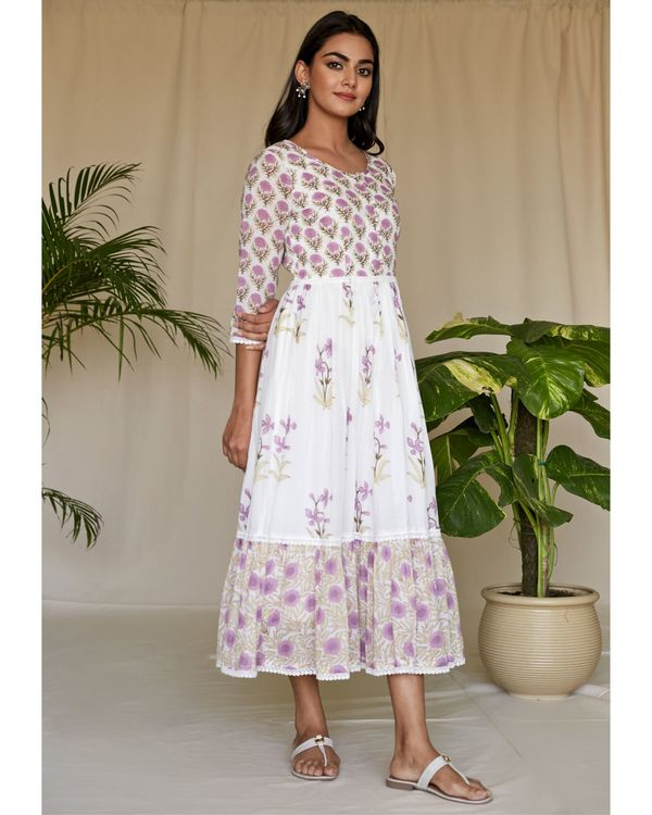 Lilac floral printed tiered maxi dress 2