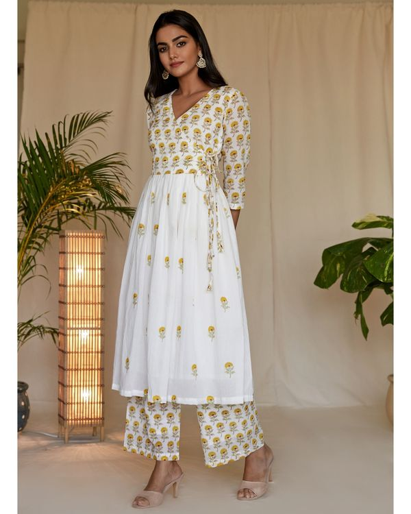 Yellow floral block printed angrakha kurta with palazzo - Set Of Two 2