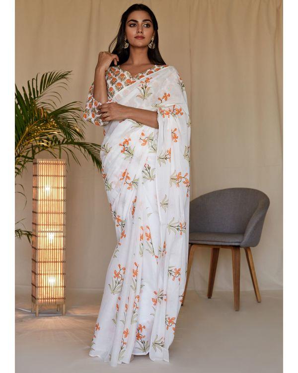 Tangerine lily block printed sari 2