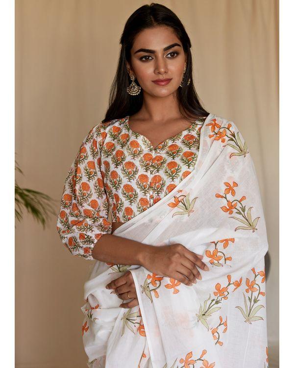 Tangerine lily block printed sari 1