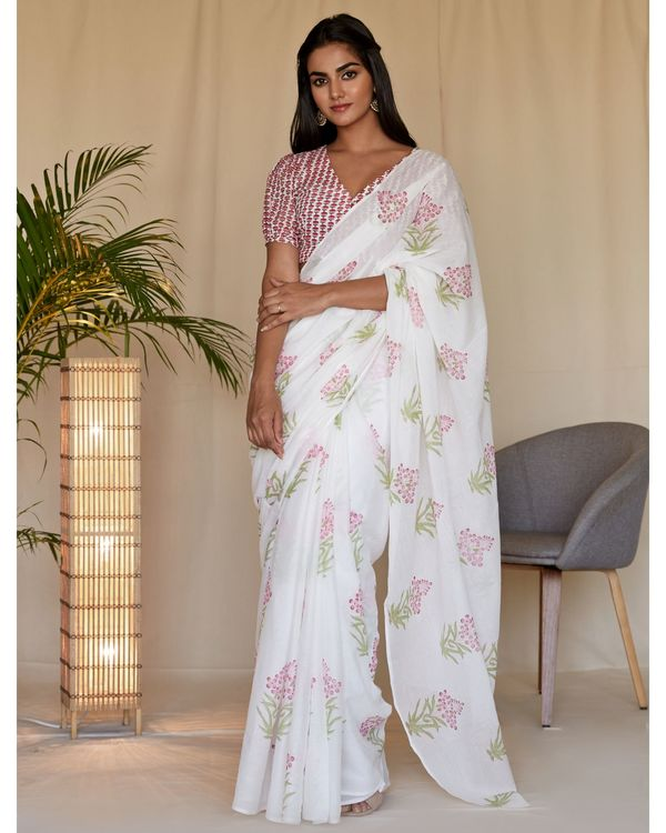 Pink cherry blossom block printed sari with blouse - Set Of Two 2