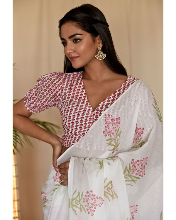 Pink cherry blossom block printed sari with blouse - Set Of Two 1