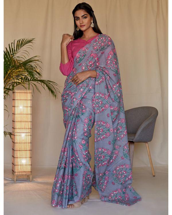 Grey mughal hand block printed sari 2