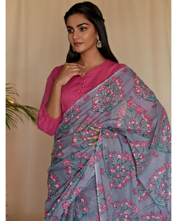 Grey mughal hand block printed sari 1