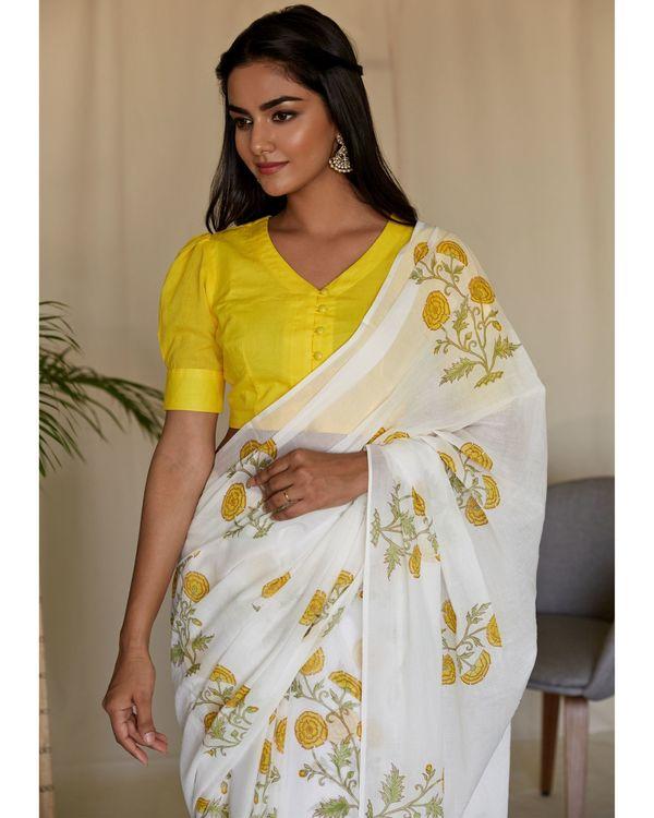 Yellow peony hand block printed sari and blouse - Set Of Two 1