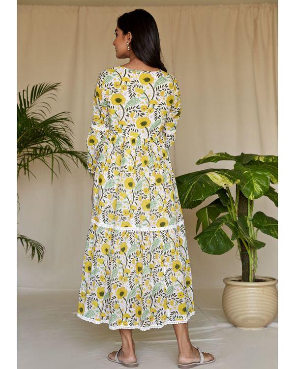 Yellow garden block printed tiered maxi dress 3