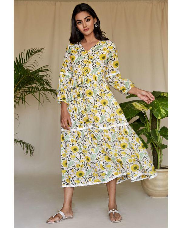 Yellow garden block printed tiered maxi dress 2