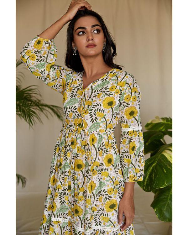 Yellow garden block printed tiered maxi dress 1