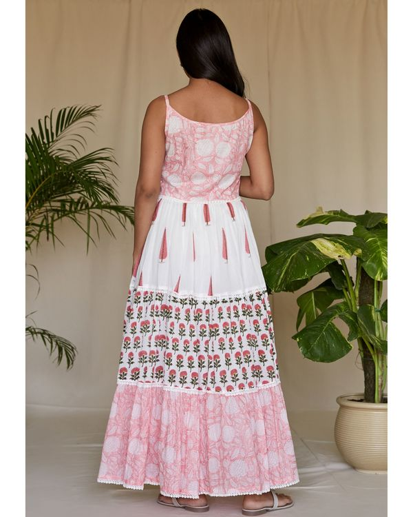 Pink floral block printed tiered maxi dress 3