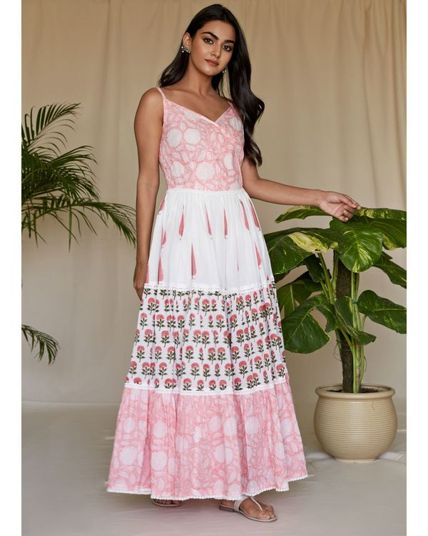 Pink floral block printed tiered maxi dress 2