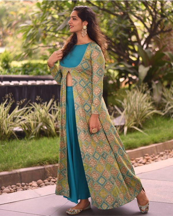 Olive green printed slit cape with sea green skirt - set of two 2