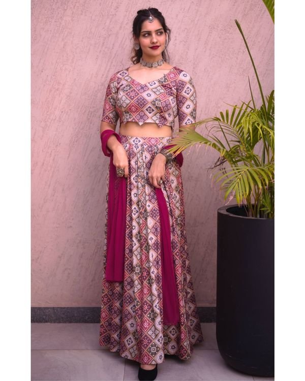 Beige gold and wine bandhej crop top and skirt with dupatta - set of three 1