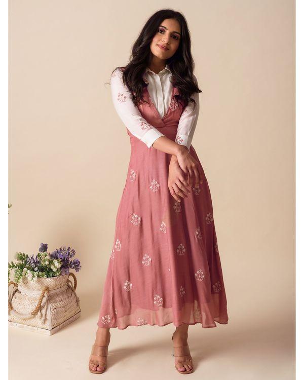 Deep pink embroidered shirt dress 3