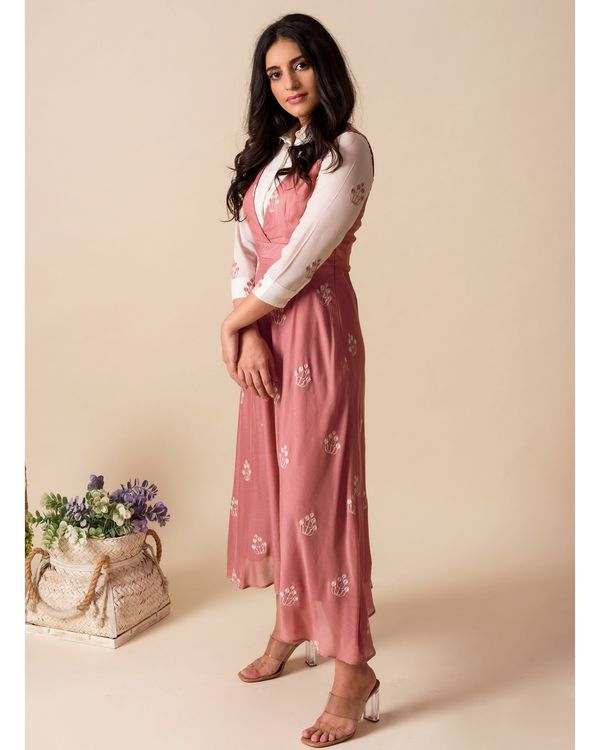 Deep pink embroidered shirt dress 2