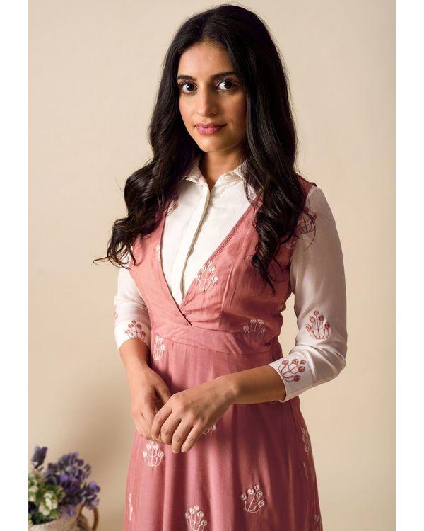 Deep pink embroidered shirt dress 1