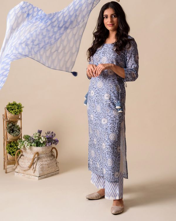 Powder blue floral hand block printed kurta and palazzo with stole - Set Of Three 3