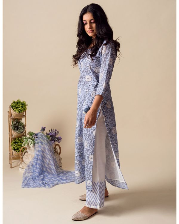 Powder blue floral hand block printed kurta and palazzo with stole - Set Of Three 2