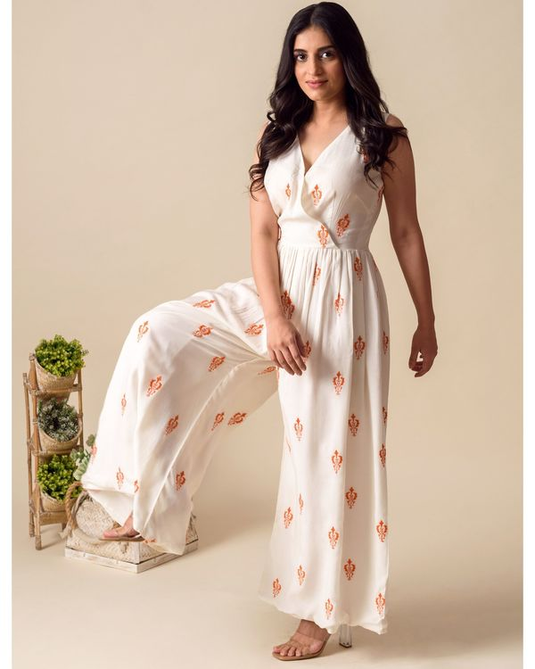 White and orange moroccan embroidered wrap jumpsuit 3