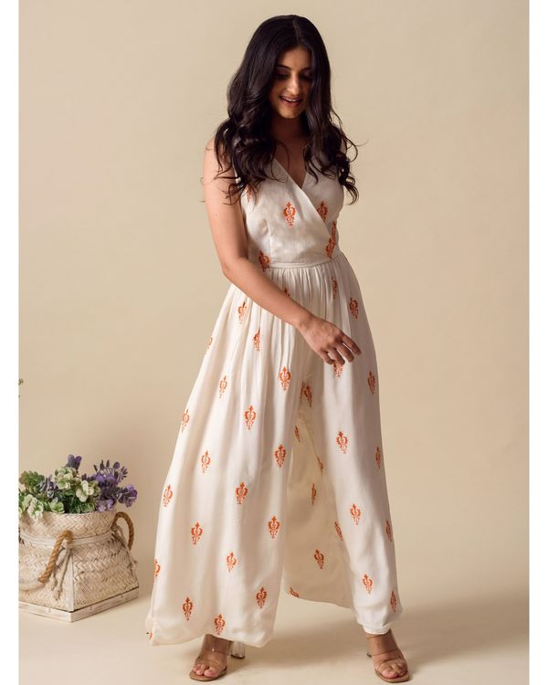White and orange moroccan embroidered wrap jumpsuit 2