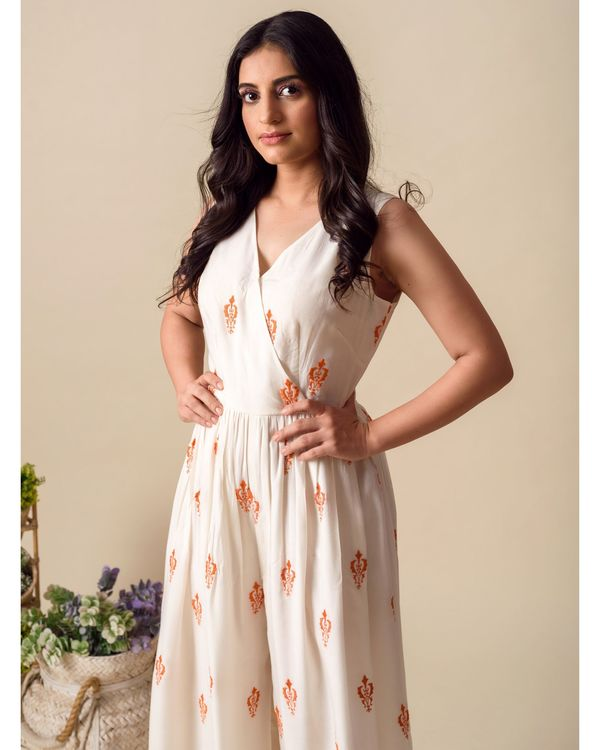 White and orange moroccan embroidered wrap jumpsuit 1