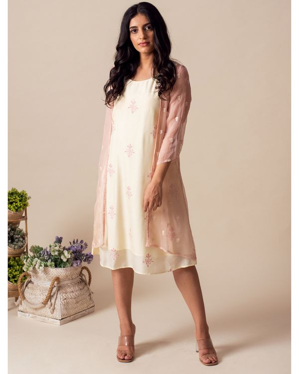 Light lemon embroidered dress with chiffon cover-up - Set Of Two 3
